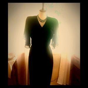 Vintage 80's black midi chiffon dress BEAUTIFUL